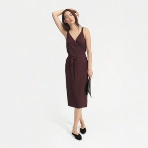 Everlane Japanese GoWeave Tank Wrap Dress in Plum
